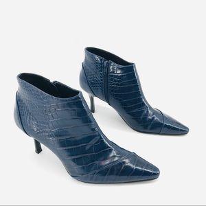Blue Faux Alligator Print Zara Heels Size 39